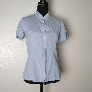 J Crew sz 6 haberdashery pinstripe stretch shirt